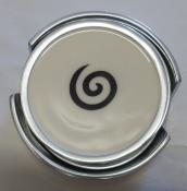 Five (5) Piece White Spiral Metal Coaster