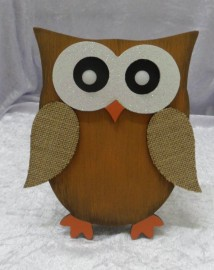 Wooden Owl with Light up Eyes - 22cm