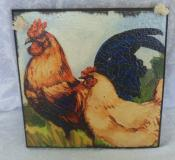 Wooden Country Rooster & Chicken Wall Plaque