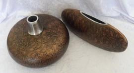 Unique & Quirky Copper Coloured Brown Vases