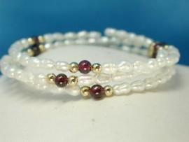 Genuine Freshwater Pearl & Garnet Bracelet