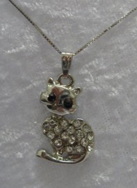 Silver Coloured Cat Pendant with Diamantes & Plated Sterling Silver Snake