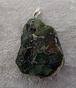 Polished Emerald Slab Pendant with 925 Sterling Silver Bail