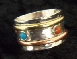 Sterling Silver 925 Spiritual Meditation Band Spinning Ring - Red Coral & Turquoise
