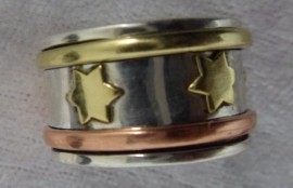 Sterling Silver 925 Spiritual Meditation Band Spinning Ring - Stars