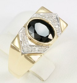 Yellow Gold Men's Black Sapphire & Diamond Ring