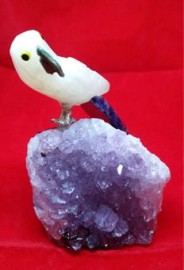 Yellow Aventurine & Lapis Lazuli Hand Carved Bird Perched on Amethyst Cluster