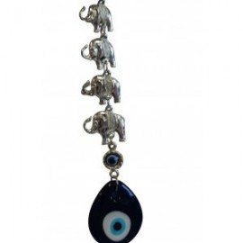 Seven (7) Silver Elephants with Evil Eye, Good Luck Hanging