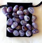 25 Piece Futhark Amethyst Gemstone Rune Set
