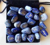 25 Piece Futhark Lapis Lazuli Gemstone Rune Set