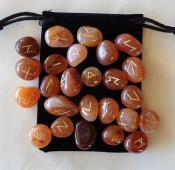 25 Piece Futhark Red Carnelian Gemstone Rune Set