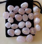 25 Piece Futhark Rose Quartz Gemstone Rune Set