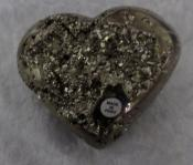 Large Polished Pyrite Puffy Heart with Crystals