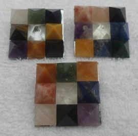 Set of Nine (9) Gemstone Pyramid Plate