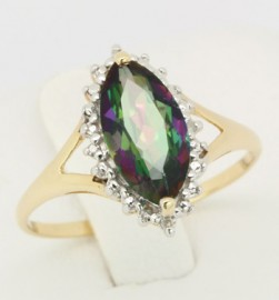 10K Yellow Gold Mystic Topaz & Diamond Ring
