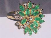14K Yellow Gold Emerald & Diamond Ring - Certified $4,670.00