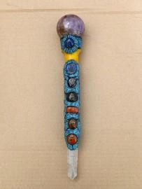 Stunning Tibetan Healing Wand Chakra Power - approx. 32cm - Reiki Healing