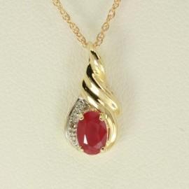 Yellow Gold Ruby & Diamond Pendant