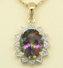 Yellow Gold Mystic Topaz & Diamond Pendant