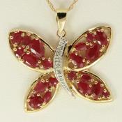 Yellow Gold Ruby & Diamond Butterfly Pendant
