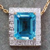 Yellow Gold Swiss Blue Topaz & Diamond Pendant